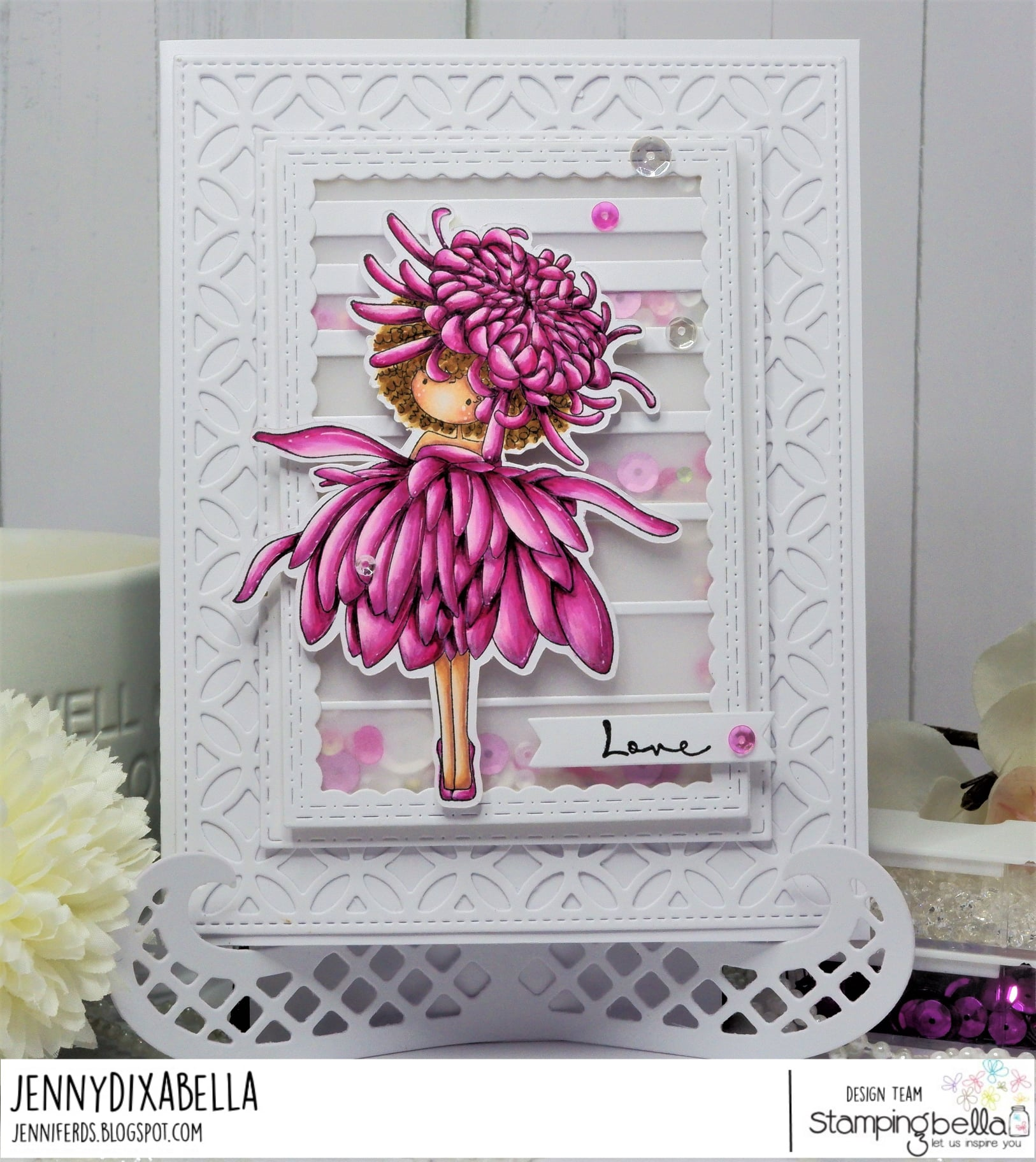 www.stampingbella.com: rubber stamp used: TINY TOWNIE GARDEN GIRL CHRYSANTHEMUM card by Jenny Dix