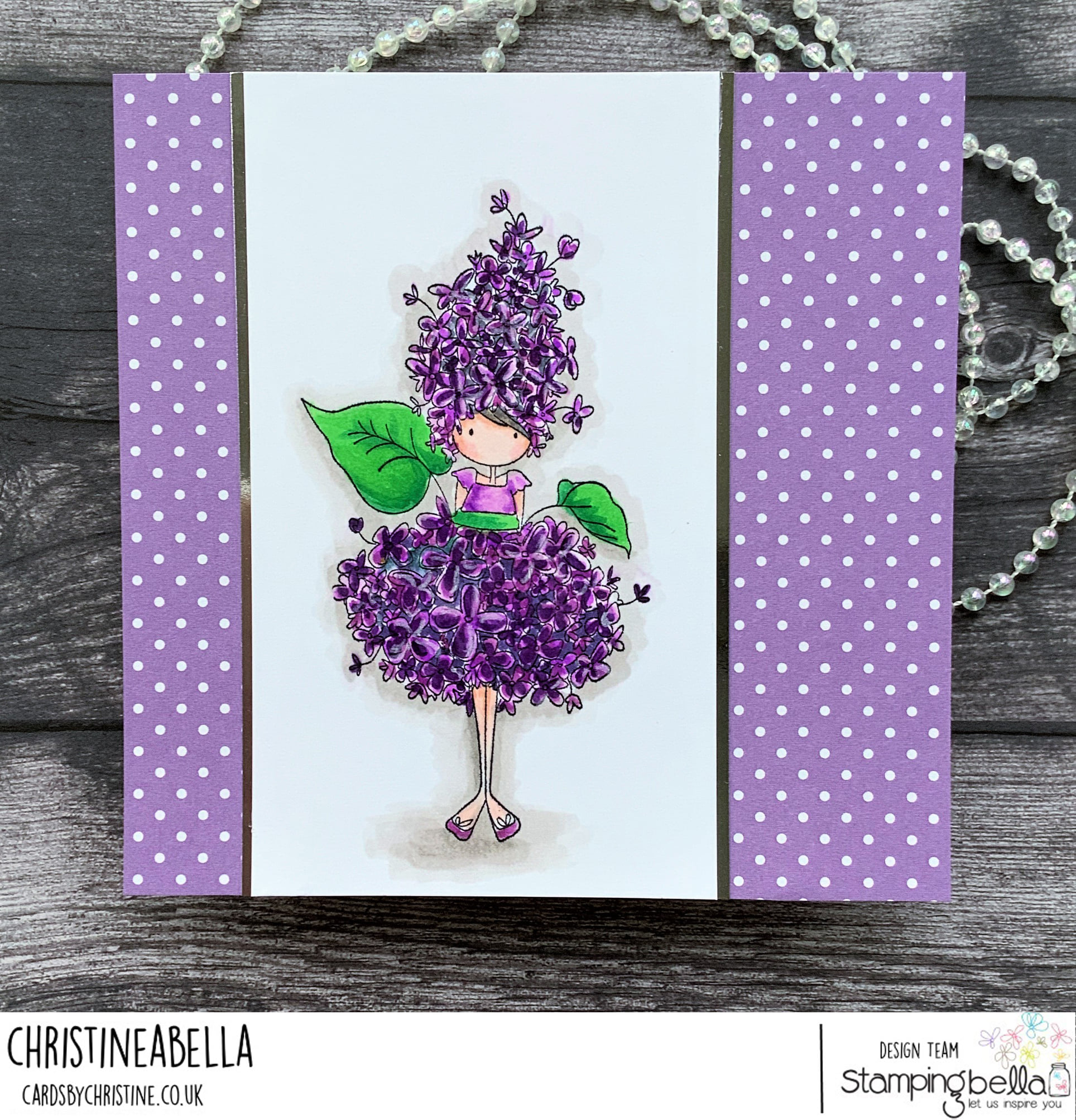 www.stampingbella.com: rubber stamp used: TINY TOWNIE GARDEN GIRL LILAC card by Christine Levison
