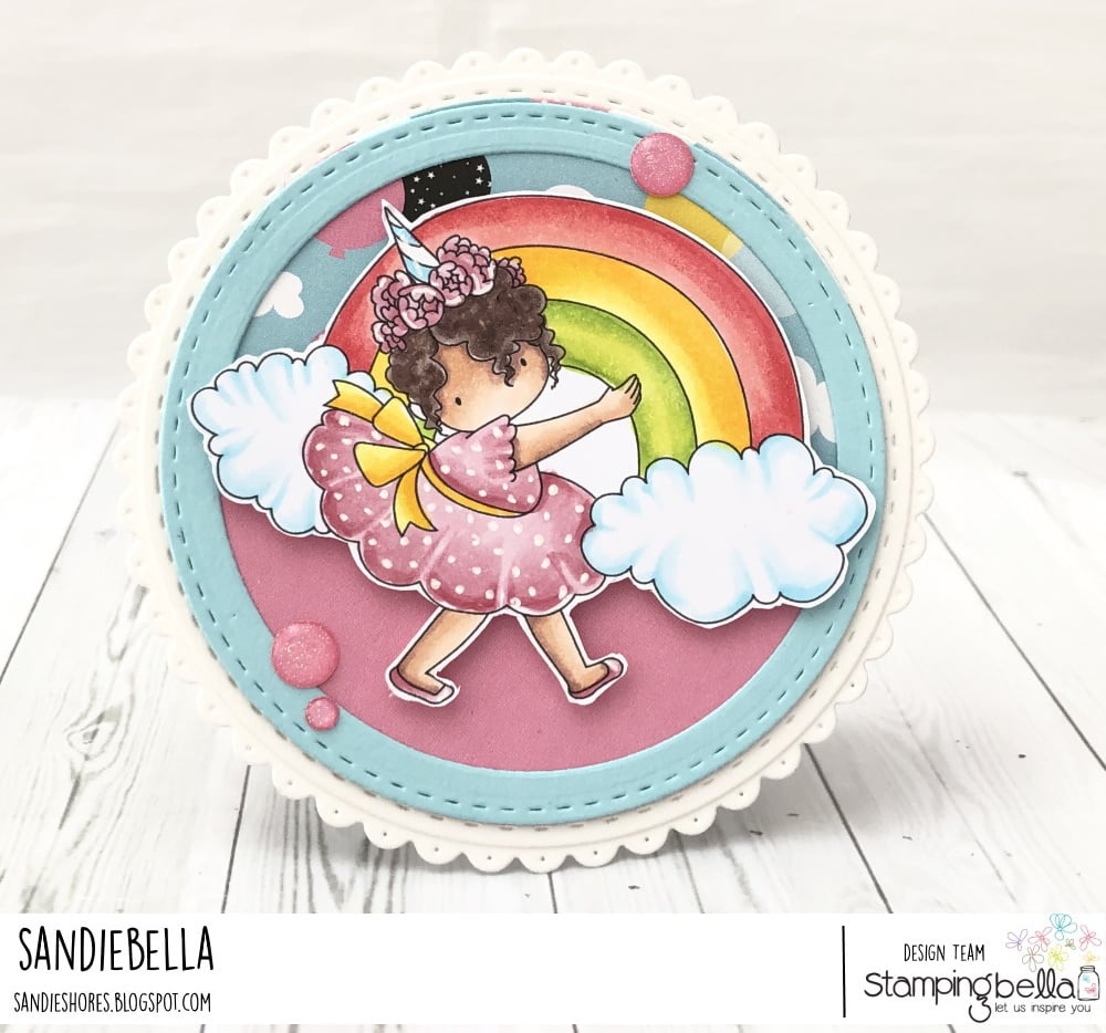 www.stampingbella.com: rubber stamp used: RAINBOW TINY TOWNIE, card by Sandie Dunne