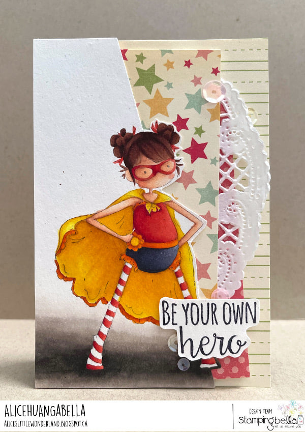 www.stampingbella.com: rubber stamp used: TINY TOWNIE HAYLEY the HERO,  card by ALICE HUANG