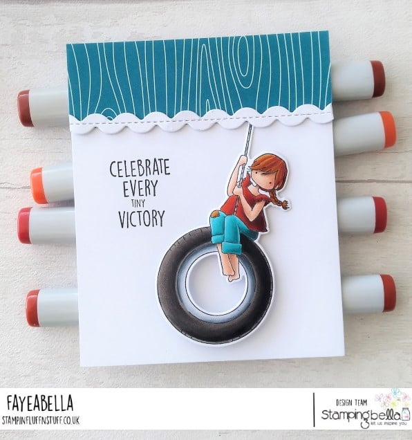 www.stampingbella.com: rubber stamp used: TINY TOWNIE TIRE SWING, card by DEBRA JAMES