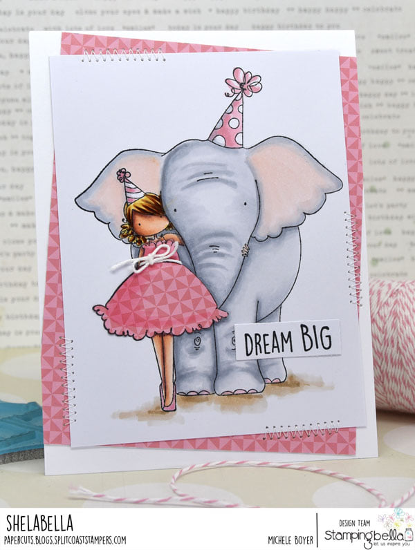 www.stampingbella.com: rubber stamp used: TINY TOWNIE WITH AN ELEPHANT, card by Michele Boyer