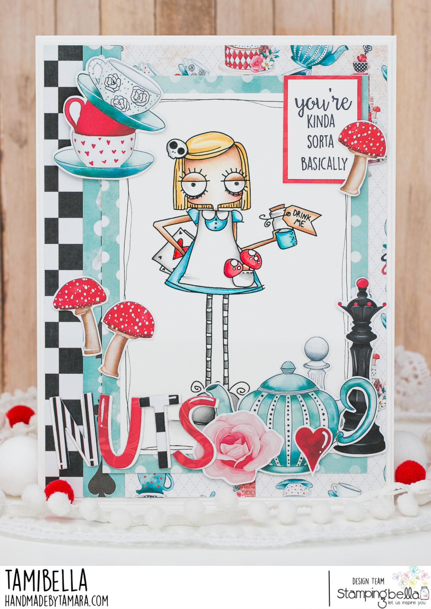 www.stampingbella.com: rubber stamp used: ODDBALL ALICE IN WONDERLAND card by Tamara Potocnik
