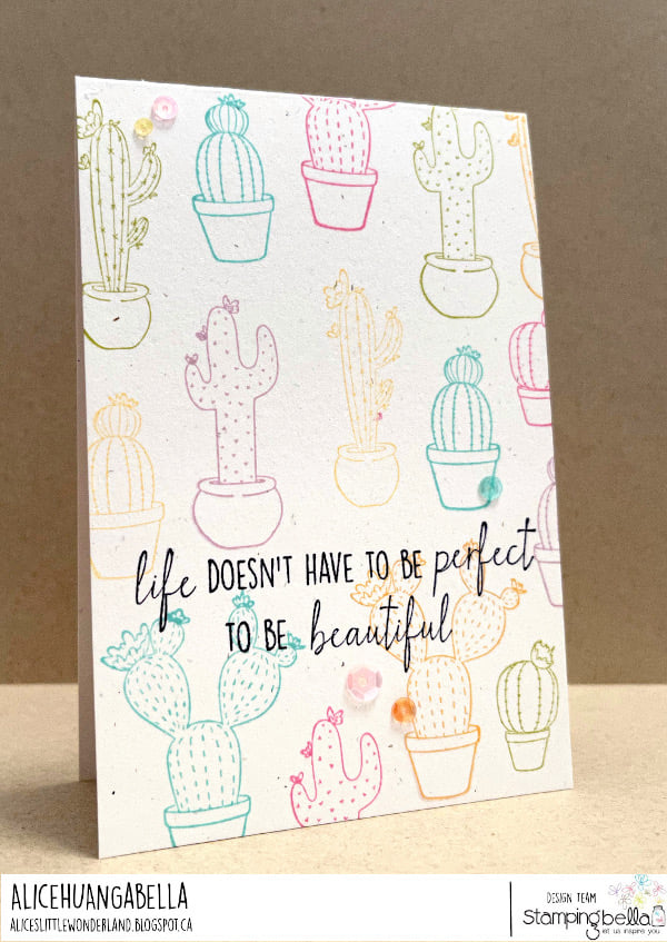 www.stampingbella.com: rubber stamp used: CACTI card by Alice Huang