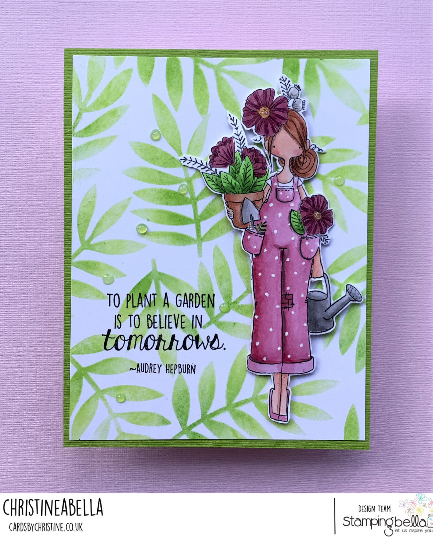 www.stampingbella.com: rubber stamp used : CURVY GIRL GARDENER card by Christine Levison