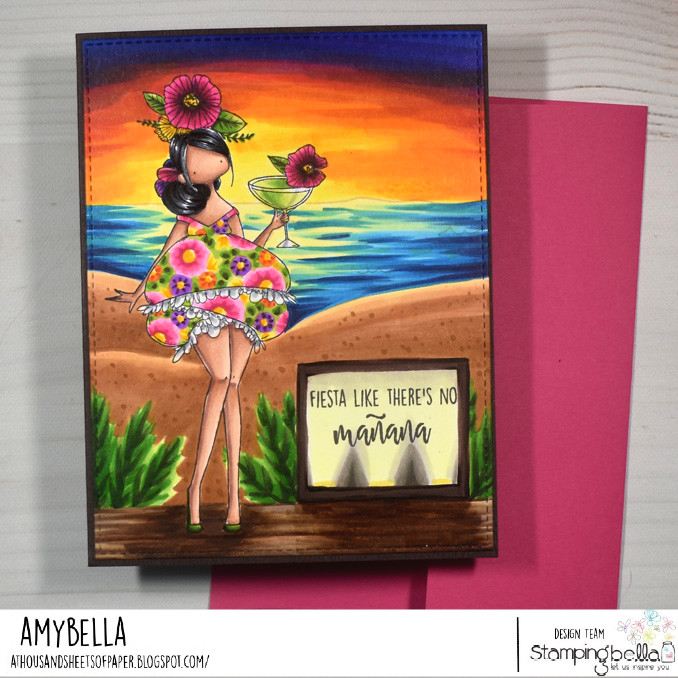 www.stampingbella.com: rubber stamp used: CURVY GIRL WITH A COCKTAIL card by Amy Young
