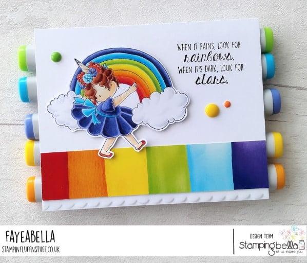 www.stampingbella.com: rubber stamp used : RAINBOW TINY TOWNIE card by Faye Wynn Jones
