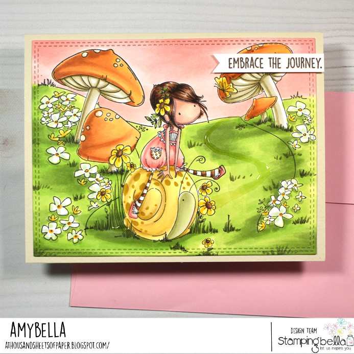 www.stampingbella.com: rubber stamp used: tiny townie SALLY and her SNAIL and our GNOME BACKDROP card by Amy Young