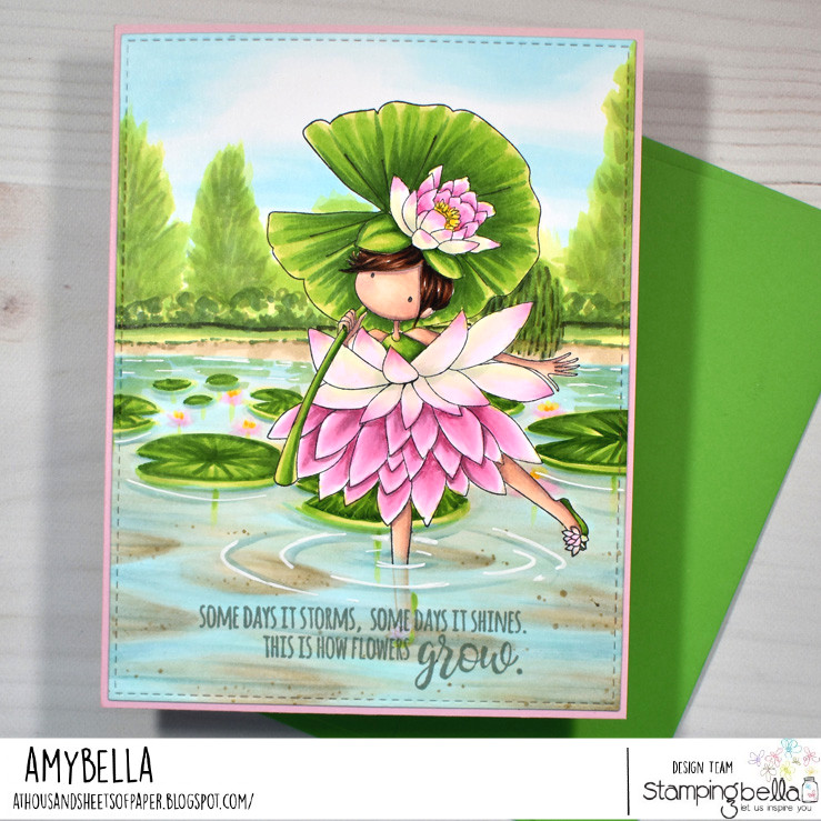www.stampingbella.com: rubber stamp used: TINY TOWNIE GARDEN GIRL WATERLILY card by Amy Young