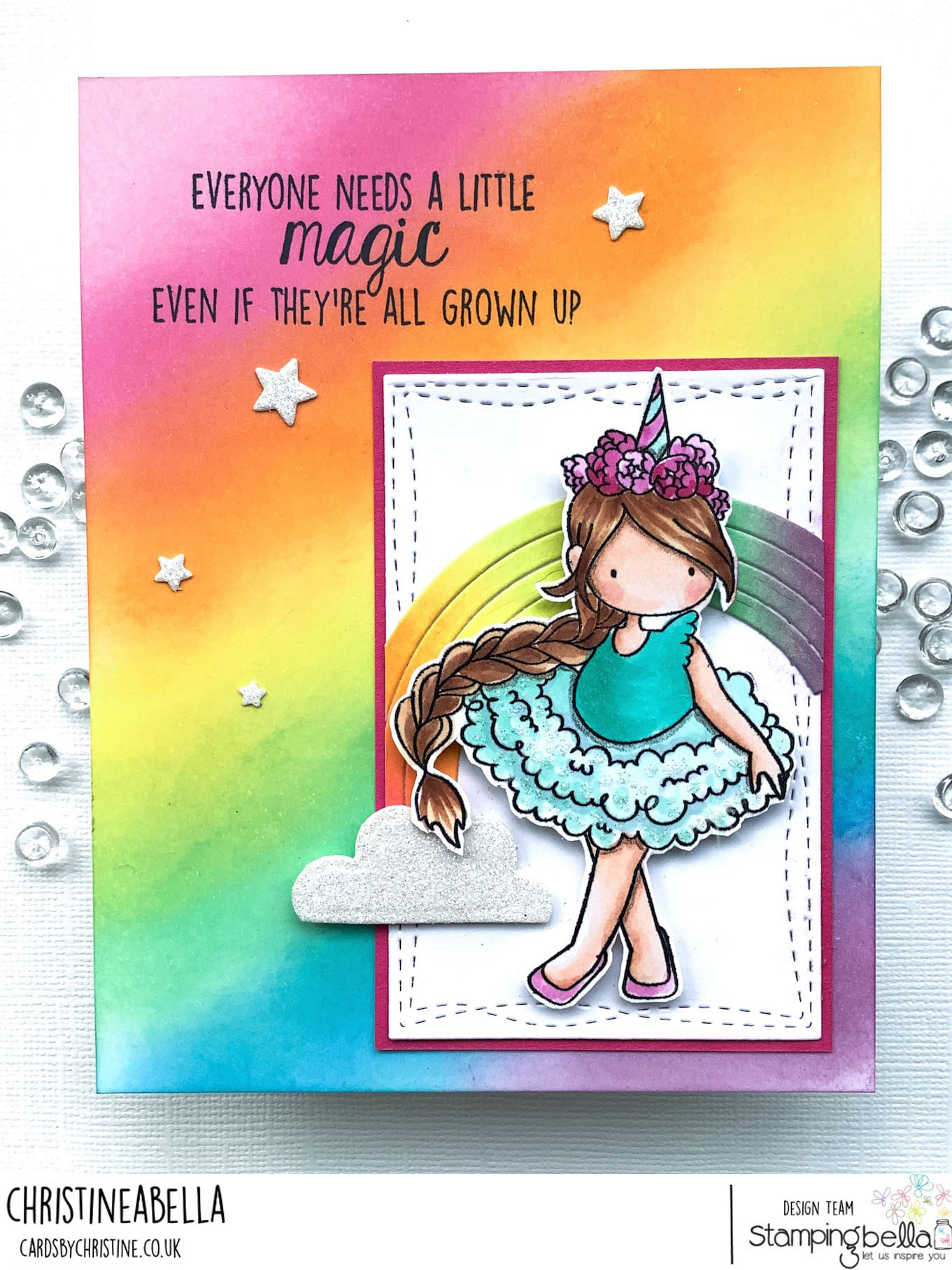 www.stampingbella.com: rubber stamp used : TINY TOWNIE UNICORN card by Christine Levison