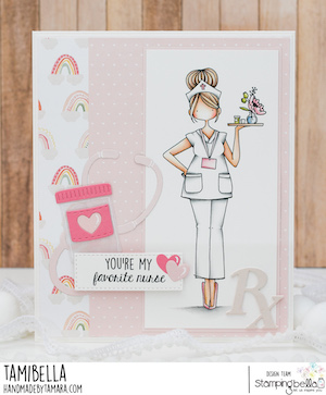 www.stampingbella.com: rubber stamp used CURVY GIRL NURSE card by Tamara Potocnik