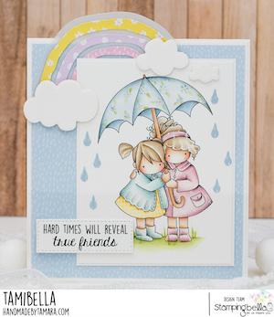 www.stampingbella.com: rubber stamp used TINY TOWNIES UNDER AN UMBRELLA card by Tamara Potocnik
