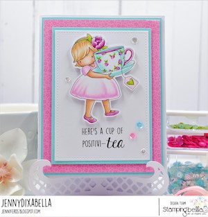 www.stampingbella.com: RUBBER STAMP USED: TINY TOWNIE LOVES TEA card by Jenny Dix