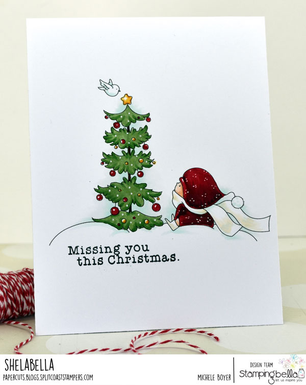 www.stampingbella.com: rubber stamp used: BUNDLE GIRL WITH A CHRISTMAS TREE and a BIRDIE. card by Michele Boyer