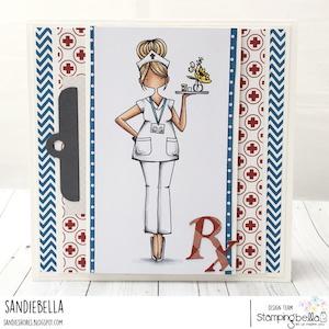 www.stampingbella.com: rubber stamp used CURVY GIRL NURSE card by Sandie Dunne