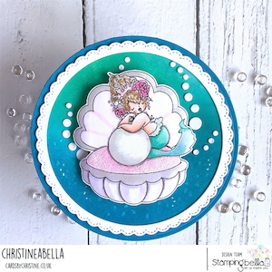 www.stampingbella.com: RUBBER STAMP USED: EDNA IN A CLAM card by CHRISTINE LEVISON