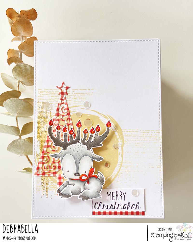 www.stampingbella.com: RUBBER STAMP USED: HANUKKAHDEER card by DEBRA JAMES