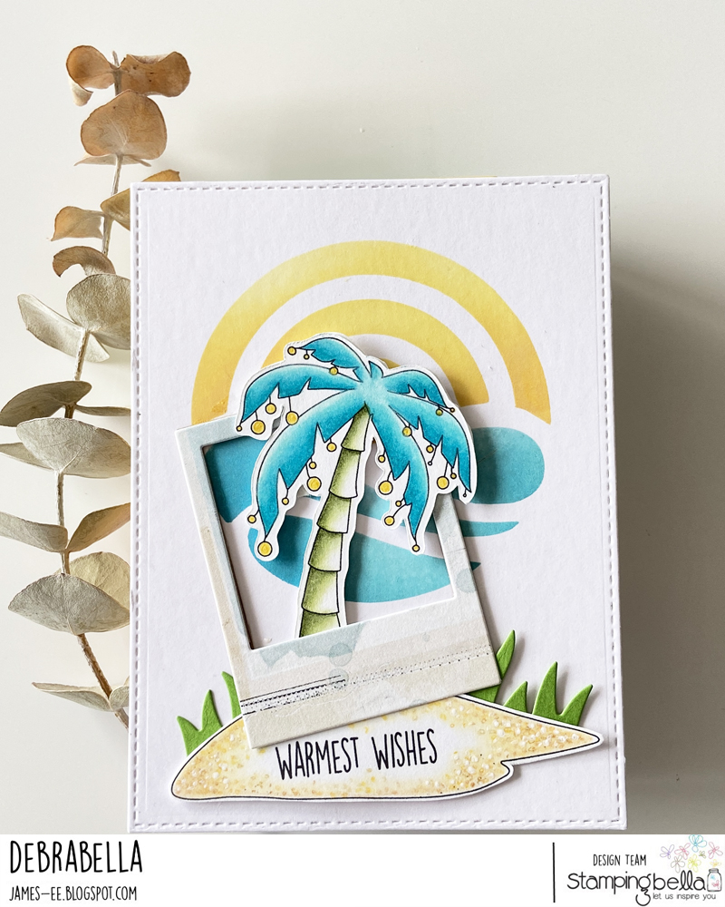 www.stampingbella.com: RUBBER STAMP USED: HOLIDAY PALM card by DEBRA JAMES