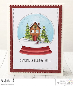 www.stampingbella.com: RUBBER STAMP USED: HOLIDAY GLOBE card by SANDIE DUNNE