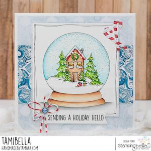 www.stampingbella.com: RUBBER STAMP USED: HOLIDAY GLOBE card by Tamara Potocnik