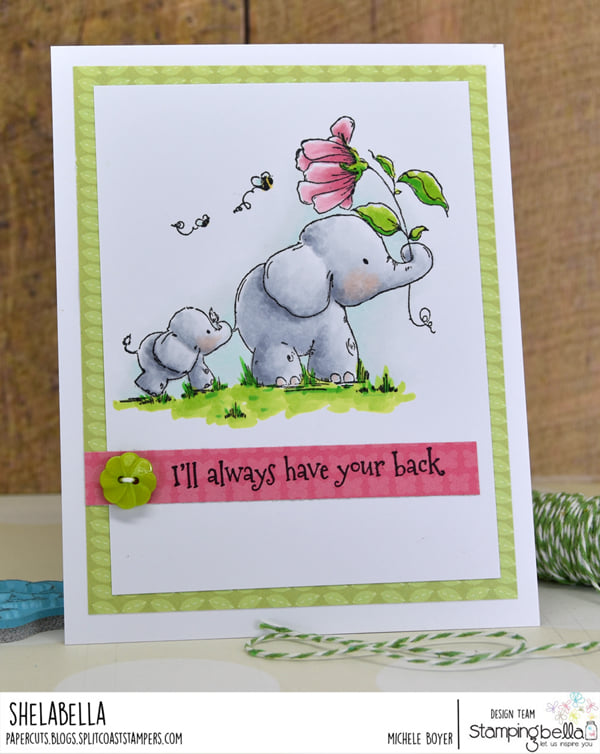 www.stampingbella.com: rubber stamp used:  I'LL ALWAYS HAVE YOUR BACK stuffies card by Michele Boyer