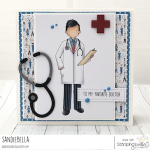 www.stampingbella.com: rubber stamp used MY FAVORITE DOCTOR card by Sandie Dunne