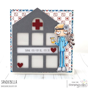 www.stampingbella.com: RUBBER STAMP USED: ODDBALL DOCTOR card by SANDIE DUNNE