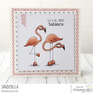 www.stampingbella.com: RUBBER STAMP USED: ODDBALL FLAMINGOS card by SANDIE DUNNE