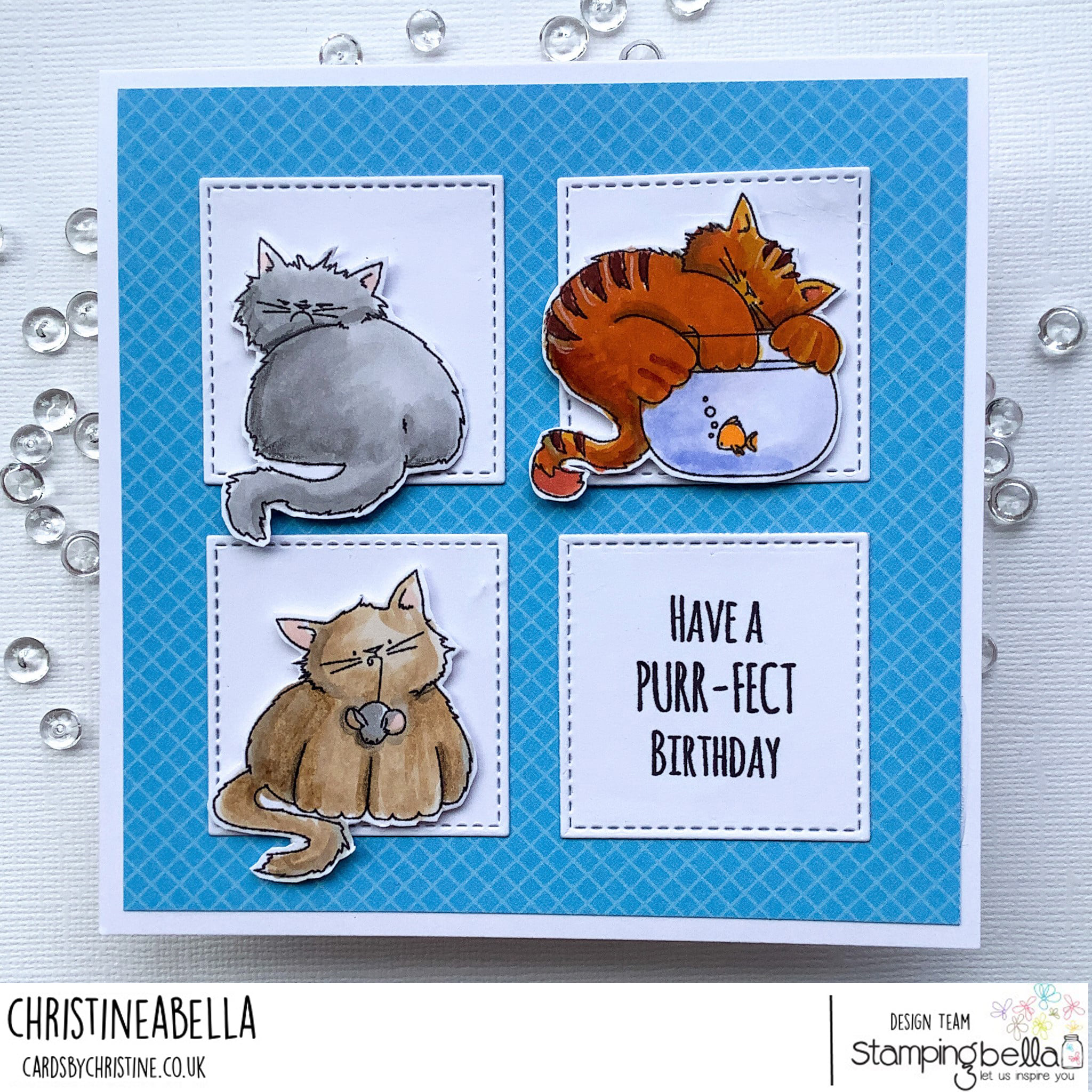www.stampingbella.com: rubber stamp used: SET OF KITTIES  card by Christine Levison