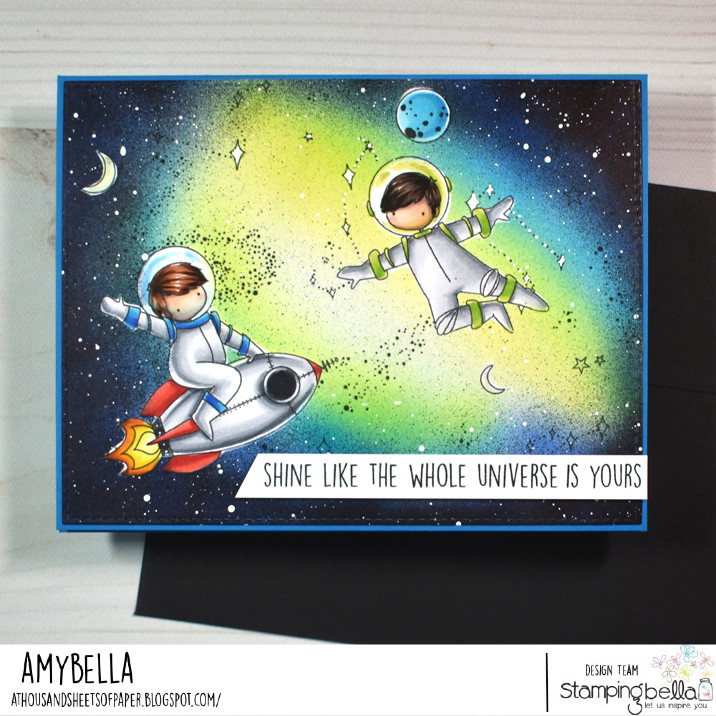 www.stampingbella.com: RUBBER STAMP USED: TINY TOWNIE ASTRONAUTS card by AMY YOUNG