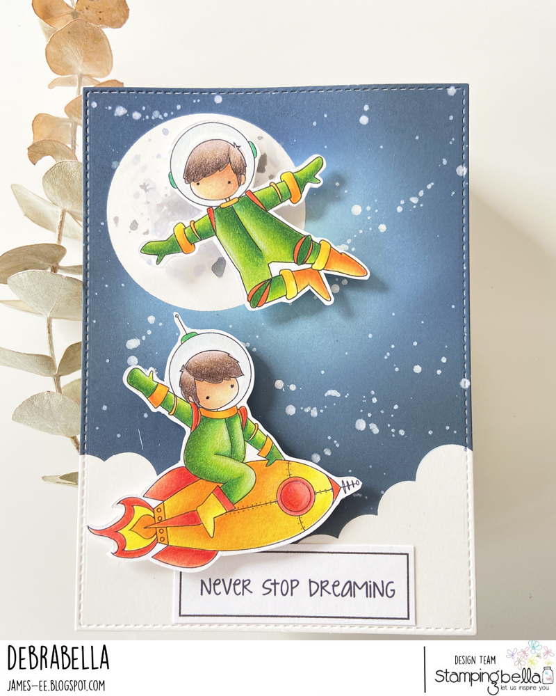 www.stampingbella.com: RUBBER STAMP USED: TINY TOWNIE ASTRONAUTS card by DEBRA JAMES