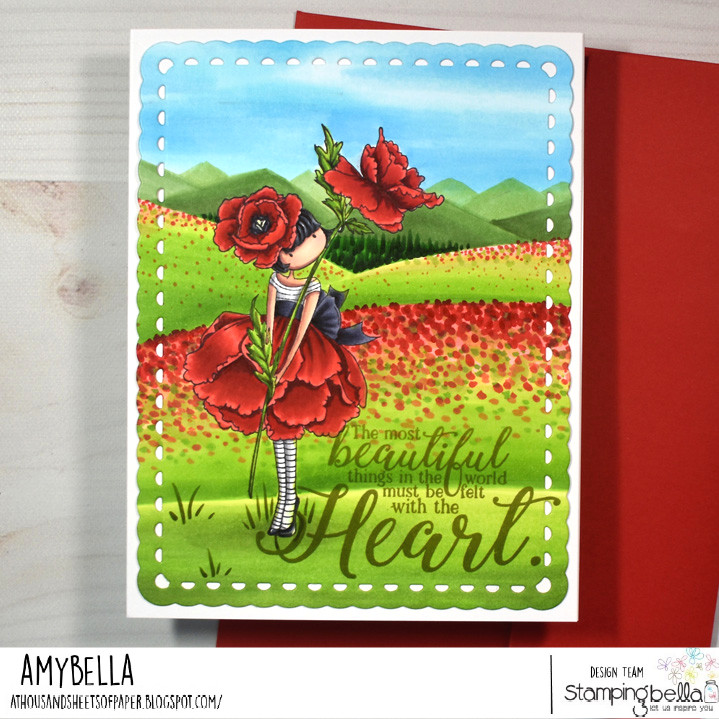 www.stampingbella.com: rubber stamp used: TINY TOWNIE GARDEN GIRL POPPY card by AMY YOUNG