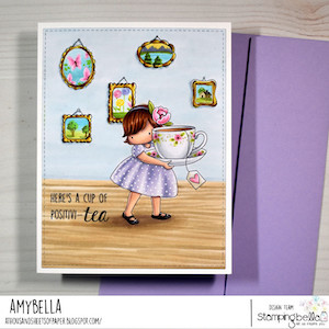 www.stampingbella.com: RUBBER STAMP USED: TINY TOWNIE LOVES TEA card by AMY YOUNG