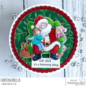 www.stampingbella.com: rubber stamp used TINY TOWNIES on SANTA'S LAP card by Christine Levison