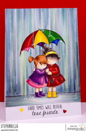 www.stampingbella.com: rubber stamp used TINY TOWNIES UNDER AN UMBRELLA card by Stephanie Hill