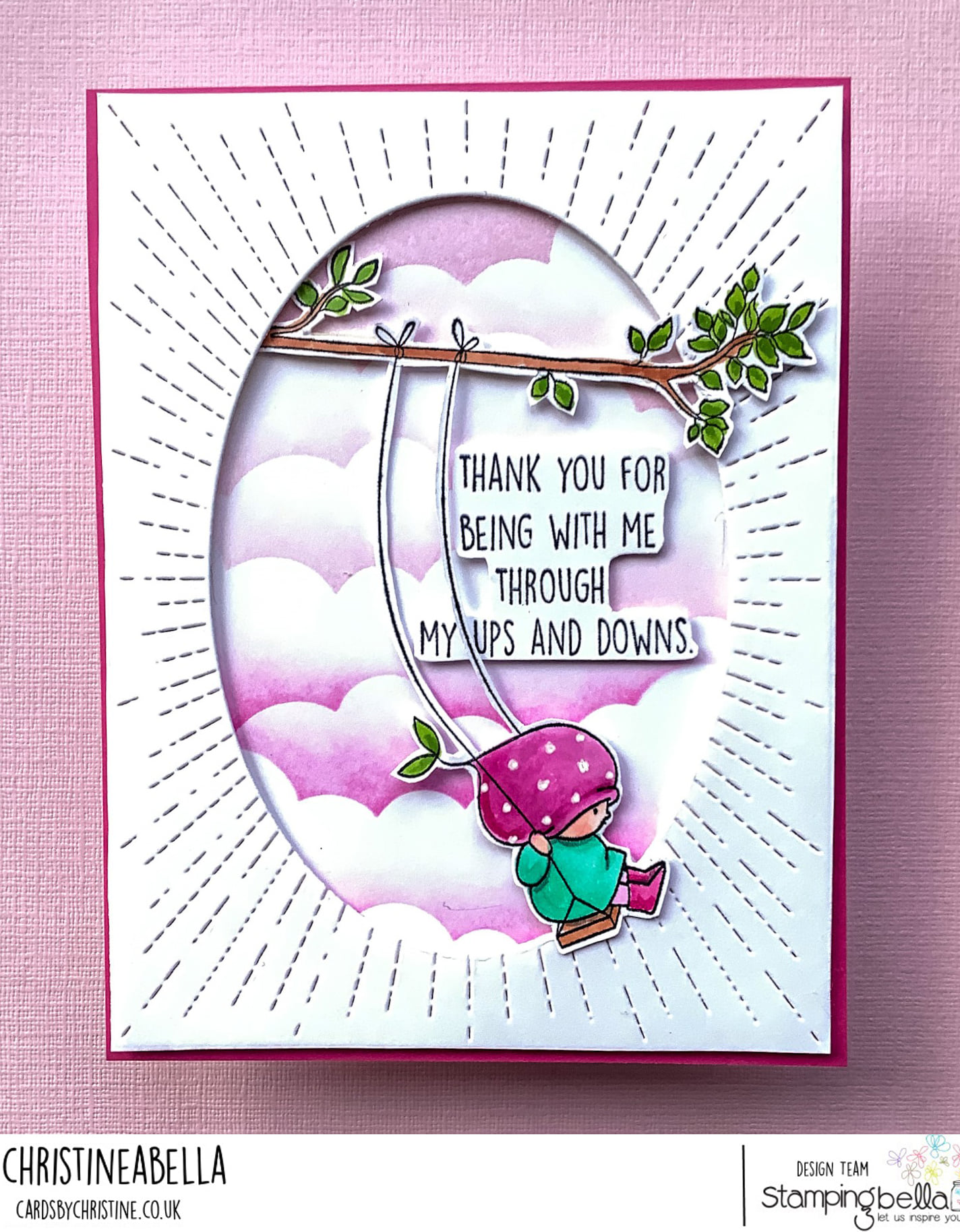 Www.stampingbella.com: rubber stamp used bundle girl on a swing .  Card by Christine Levison
