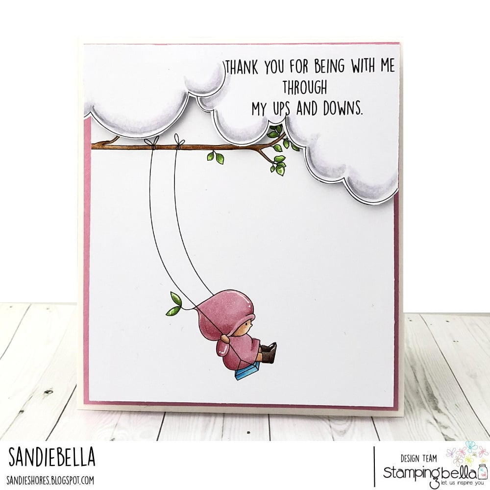 Www.stampingbella.com: rubber stamp used bundle girl on a swing .  Card by Sandie Dunne