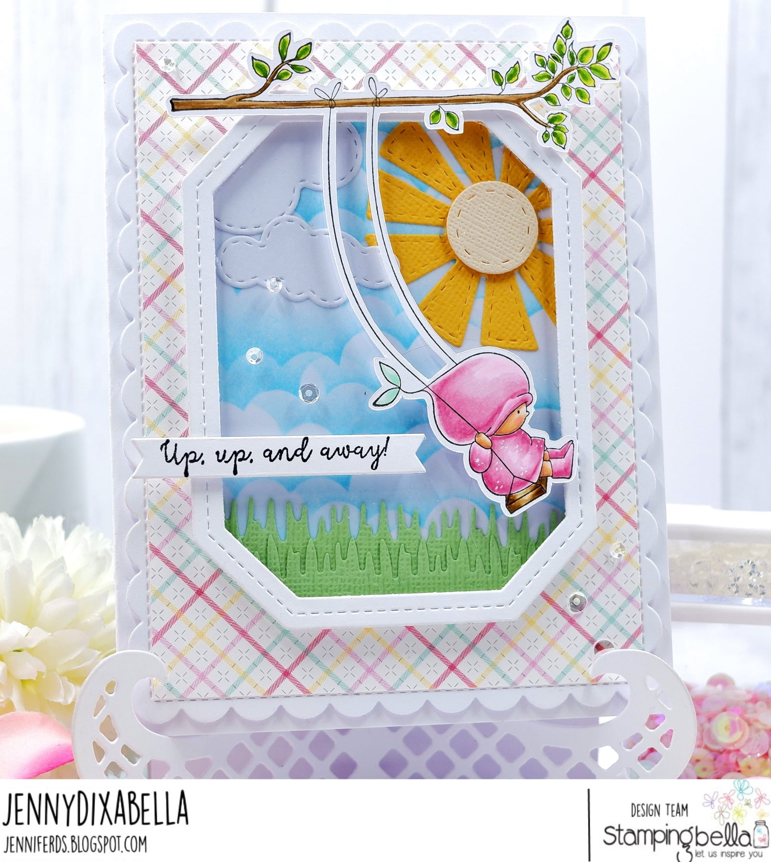 Www.stampingbella.com: rubber stamp used bundle girl on a swing .  Card by Jenny Dix