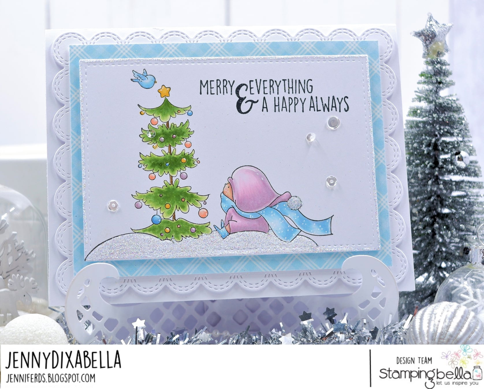 www.stampingbella.com: rubber stamp used: Bundle Girl with a Christmas tree and a birdie.. card by Jenny Dix
