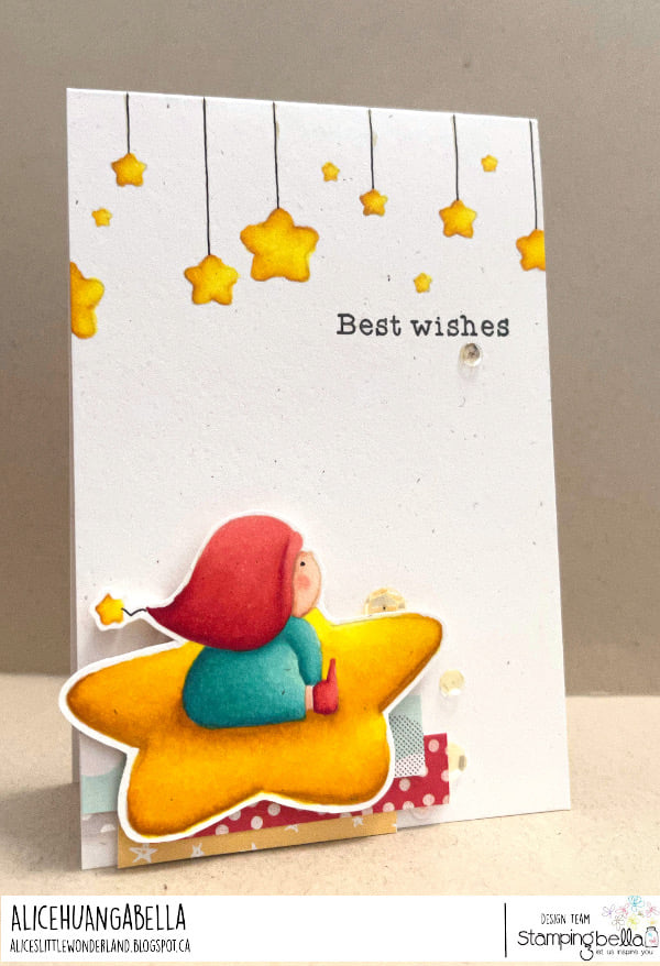 www.stampingbella.com: rubber stamp used: BUNDLE GIRL IN THE SKY, bundle girl stars and clouds BACKDROP.. card by Alice Huang