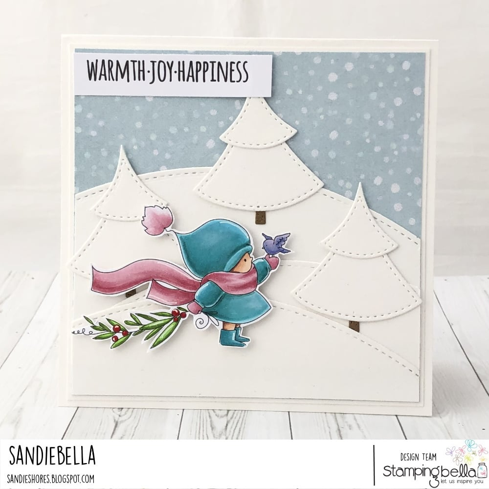 www.stampingbella.com: rubber stamp used:Bundle girl with a WINTER BRANCH card by Sandie Dunne