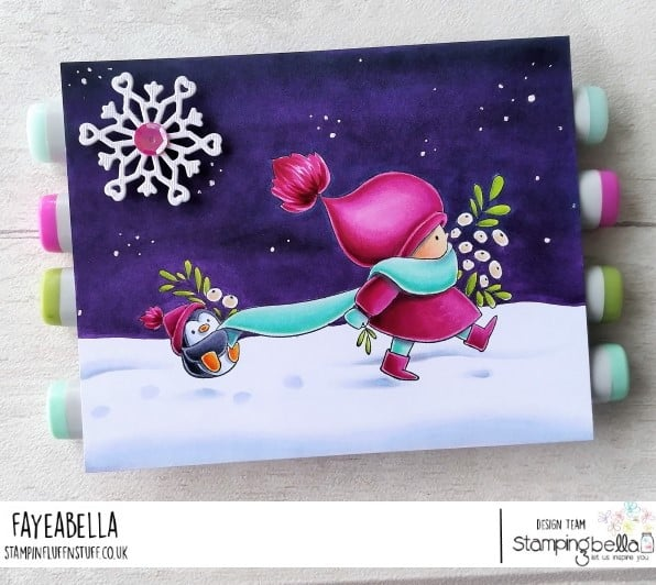 www.stampingbella.com: rubber stamp used: BUNDLE GIRL WITH PENGUIN card by Faye Wynn Jones