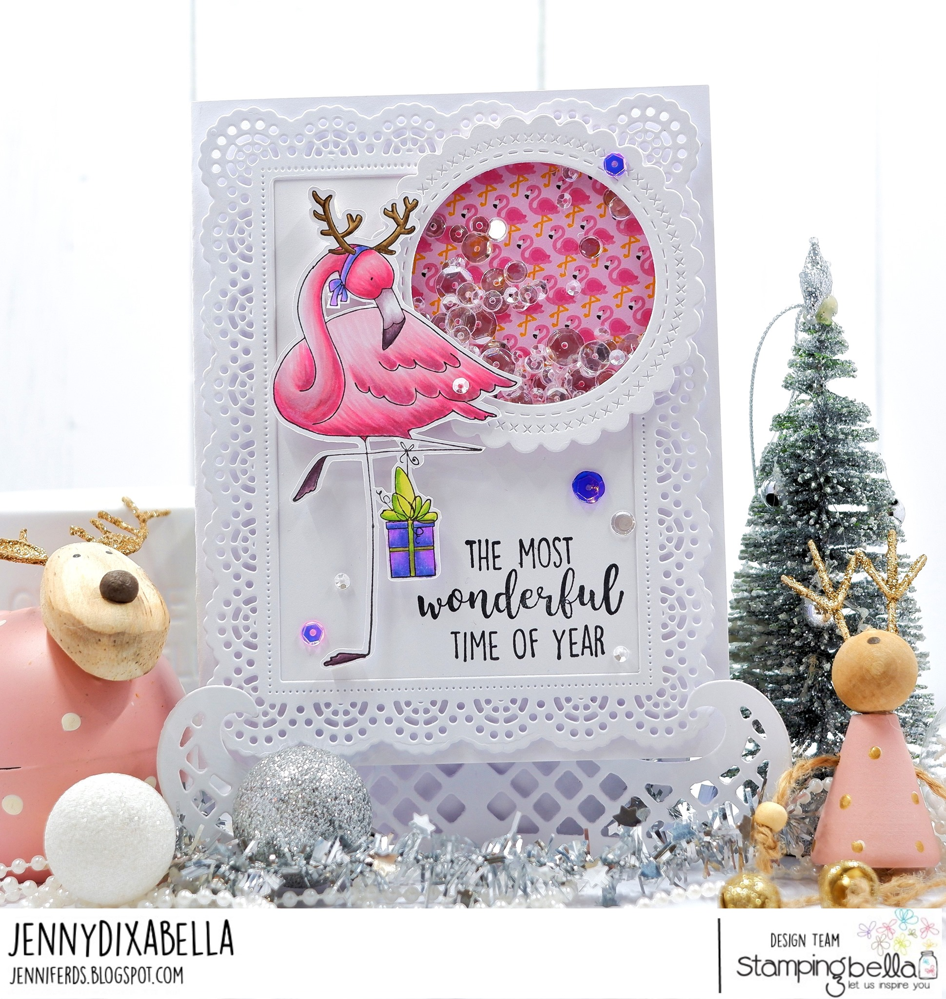 www.stampingbella.com: rubber stamp used flamingodeer. card by Jenny Dix