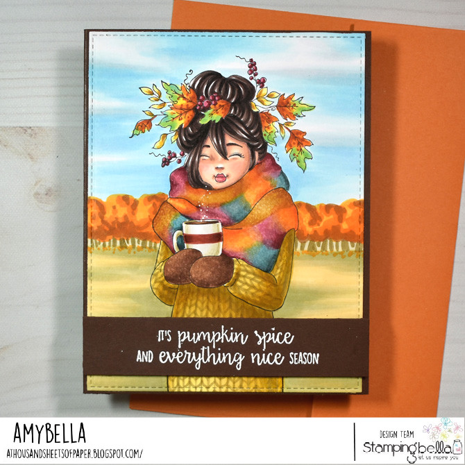 www.stampingbella.com rubber stamp used :MOCHI FALL GIRL. card by Amy Young