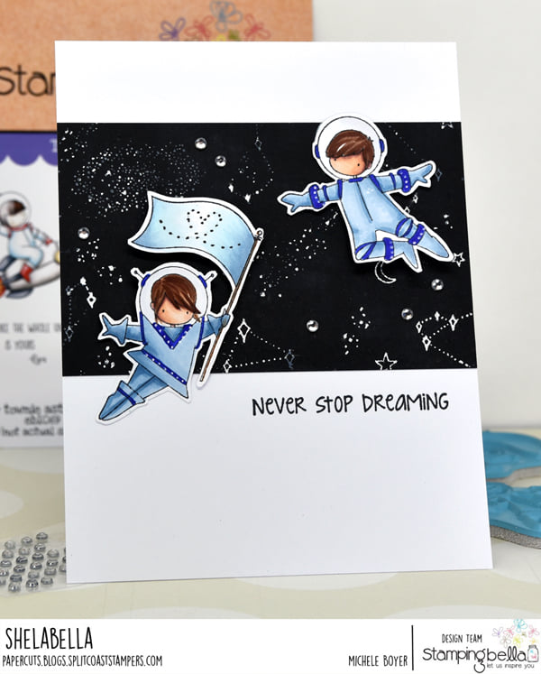www.stampingbella.com: rubber stamp used: TINY TOWNIE ASTRONAUTS card by Michele Boyer
