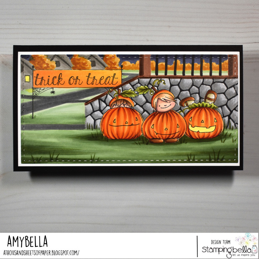 Www.stampingbella.com. Rubber stamp used : squidgy pumpkin trio and fall sentiment set.  Card by Amy young