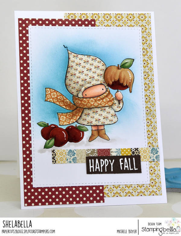 www.stampingbella.com: rubber stamp used : CARAMEL APPLE BUNDLE GIRL card by Michele Boyer