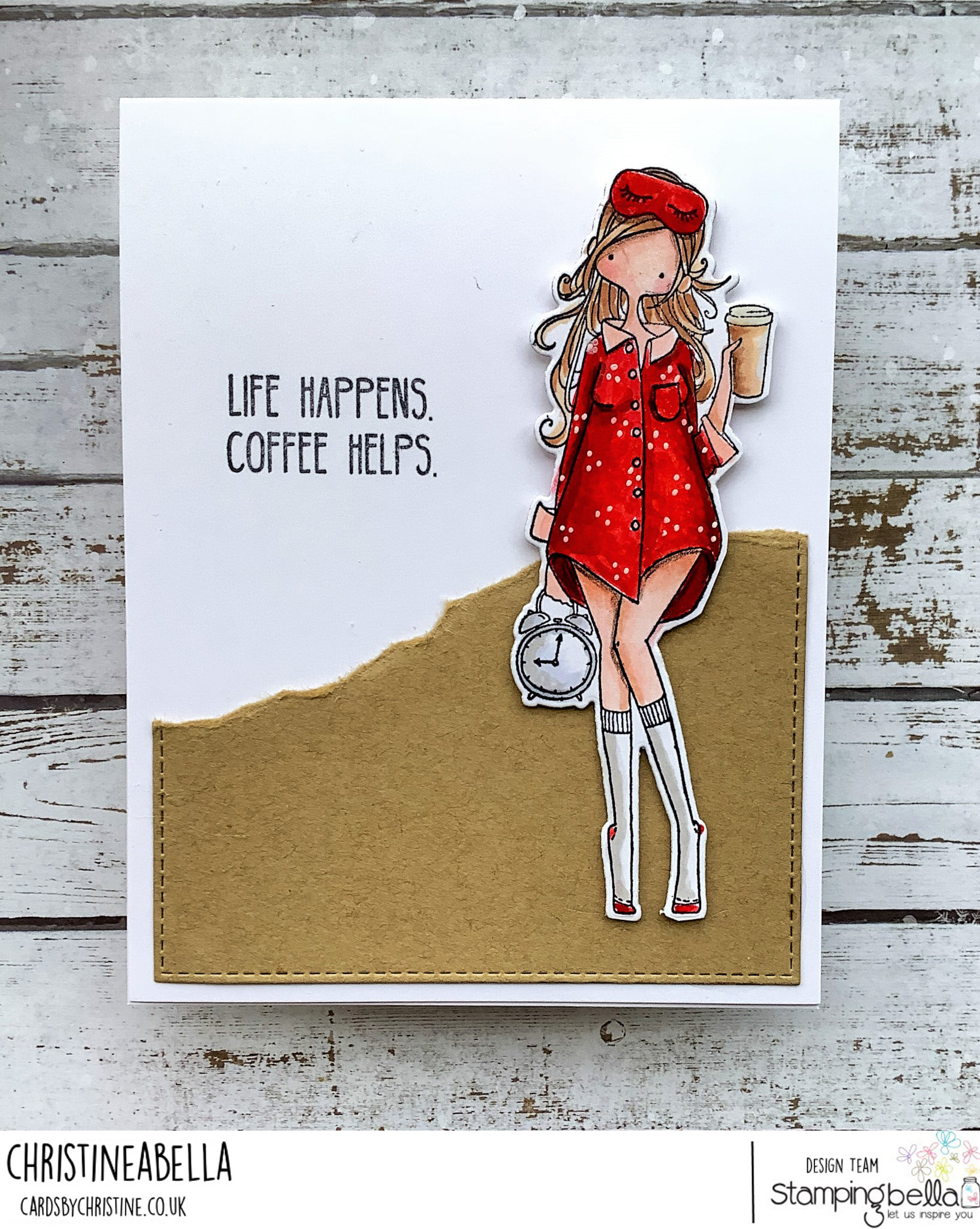 www.stampingbella.com: rubber stamp used : CURVY GIRL LOVES COFFEE card by Christine Levison