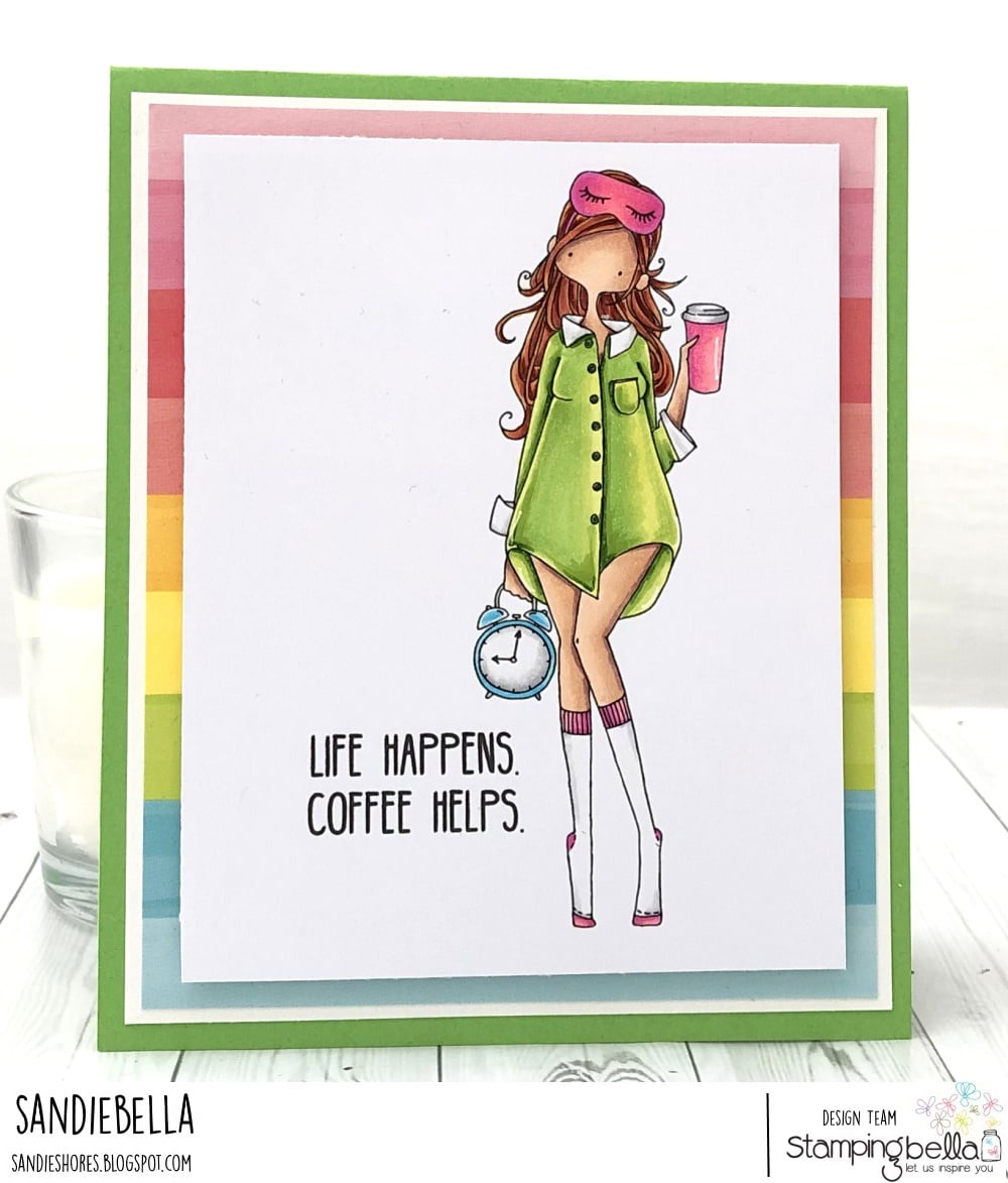 www.stampingbella.com: rubber stamp used : CURVY GIRL LOVES COFFEE card by Sandie Dunne