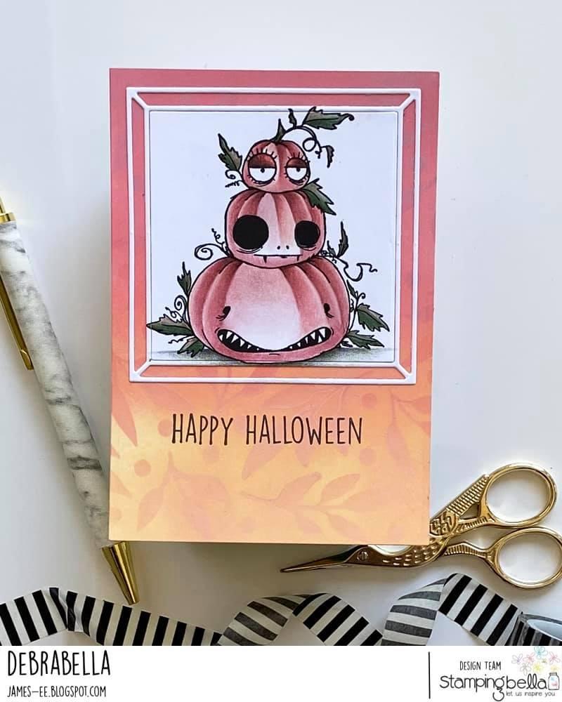 www.stampingbella.com: rubber stamp used : oddball pumpkin pile card by Debra James
